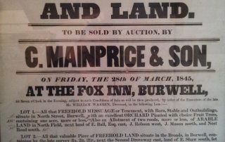 An auction sign for the pub, March 1845.